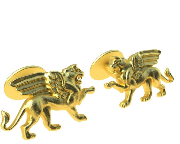 14 Karat Yellow Gold Winged Griffin Cufflinks  Tiffany designer , Thomas Kurilla created this for 1st dibs exclusively. Sculpture is my passion. This griffin is getting ready to take on his enemy 4 teeth and all.  20 mm wide x 11.5 mm high x 3mm