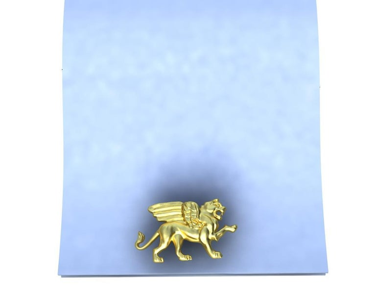 Contemporary 14 Karat Yellow Gold Winged Griffin Cufflinks For Sale