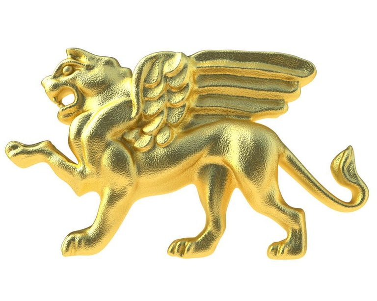 14 Karat Yellow Gold Winged Griffin Cufflinks In New Condition For Sale In New York, NY