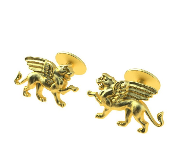 Women's or Men's 14 Karat Yellow Gold Winged Griffin Cufflinks For Sale