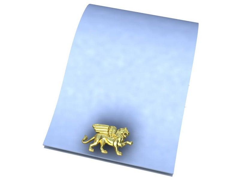 14 Karat Yellow Gold Winged Griffin Cufflinks For Sale 3
