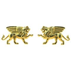 14 Karat Yellow Gold Winged Griffin Cufflinks
