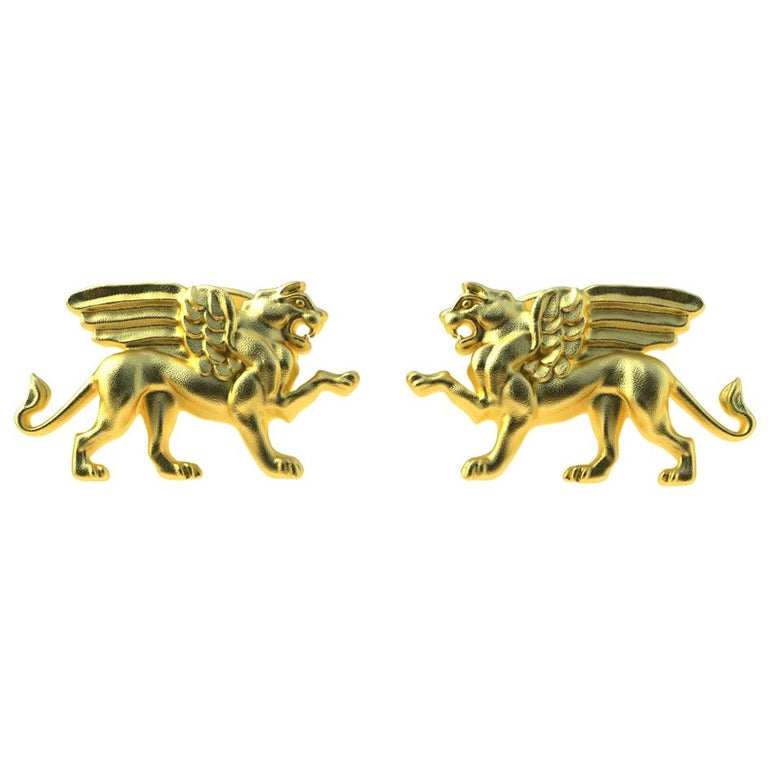 14 Karat Yellow Gold Winged Griffin Cufflinks For Sale