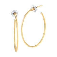 14 Karat Yellow Gold Wire Hoop Earrings, Set with Diamond Jackets