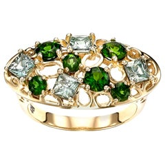 14 Karat Yellow Gold with 1.37 Carat Green Sapphire Cocktail Ring