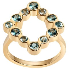 14 Karat Yellow Gold with Aquamarine and London Blue Topaz Cocktail Ring