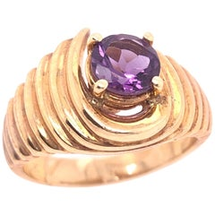 14 Karat Yellow Gold with Center Amethyst Dome Fashion Ring