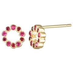 14 Karat Yellow Gold with Rubies Stud Earrings