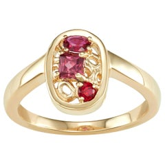 14 Karat Yellow Gold with Ruby and Rhodolite Stones Cluster Ring
