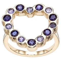 14 Karat Yellow Gold with Tanzanite and Blue Sapphire Heart Shape Cocktail Ring