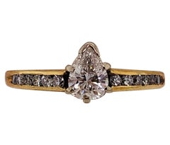 14 Karat Yellow Gold with White Gold Prongs Diamond Engagement Ring
