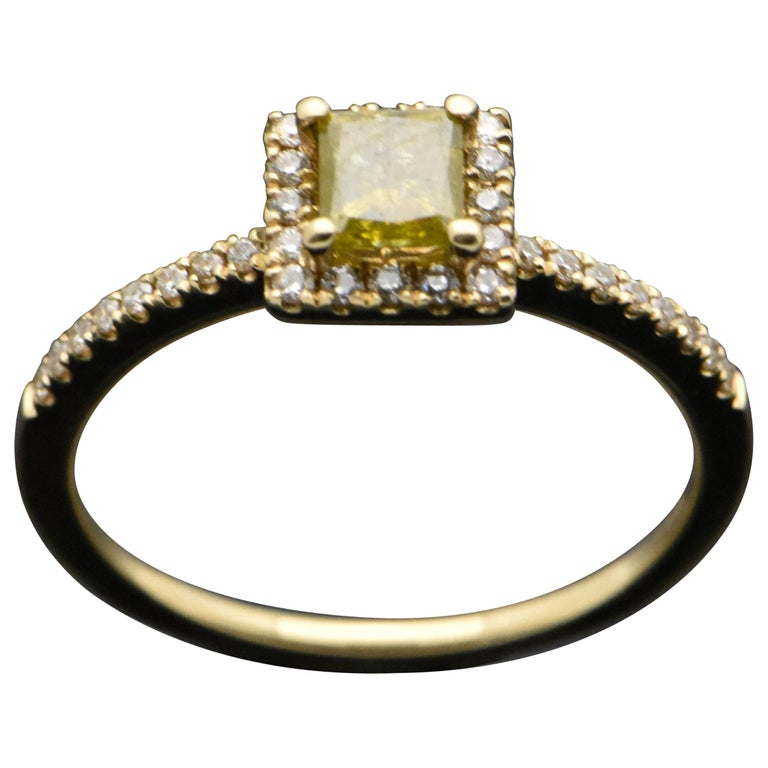 14 Karat Yellow Gold with Yellow Diamond Ring For Sale