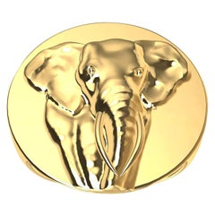 14 Karat Yellow Gold Women's Elephant 2 Tusks Signet Ring
