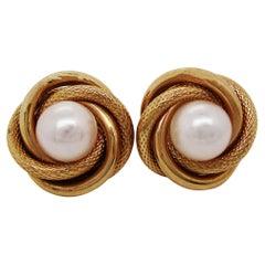 14 Karat Yellow Gold Woven Love Knot Twist Pearl Stud Earrings
