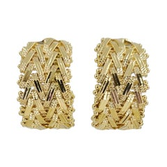14 Karat Yellow Gold Woven Wide Hoop Earrings