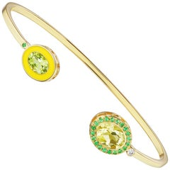 14 Karat Yellow Gold, Yellow Enamel, Lemon Citrine and Peridot Cuff Bracelet