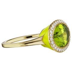 14 Karat Yellow Gold Yellow Enamel, Peridot and Diamond Cocktail Ring