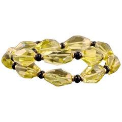 14 Karat Yellow Gold, Yellow Quartz, and Black Onyx Bead Necklace