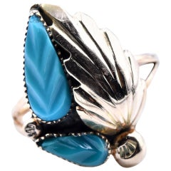 14 Karat Yellow Gold Zuni Native American Carved Floral Turquoise Ring