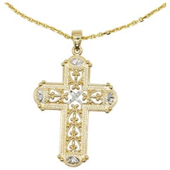 2.2 Grams 14 Karat Yellow Gold Intricate Cross Solid Gold Pendant