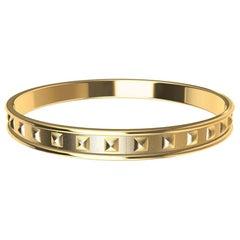 14 Karat Yellow Matte Gold Soft Pyramids Bracelet