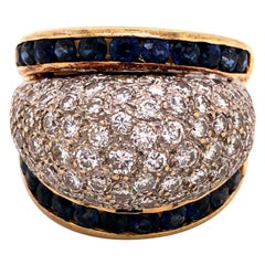 14 Karat Yellow Pavè-Set Diamond Sapphire Dome Ring