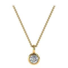 14 Karat Yellow Petite Gold Bezel Solitaire Diamond Pendant 'Center 1/10 Carat'