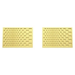 14 Karat Yellow Gold Optical Art Rectangle Cuff links
