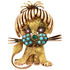 14 Karat Yellow/Rose Gold Cat Brooch with Turquoise, Emerald and Sapphire
