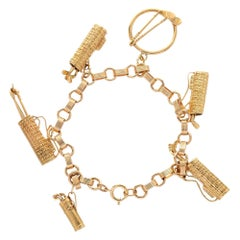 14 Karat Yellow Rose Gold Golf Themed Charm Bracelet