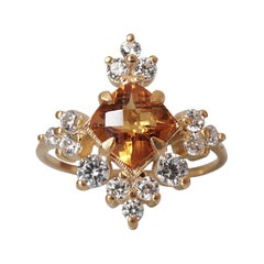 14 Karat Yellow Snowflake Diamond Citrine Ring