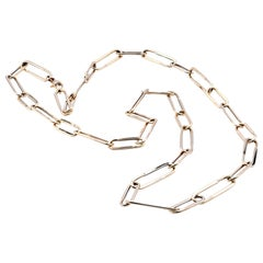 14 Karat Yellow Square Oval Link Necklace
