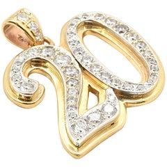 "14 Karat Yellow, White Gold and Round Brilliant-Cut Diamond ""20"" Pendant"