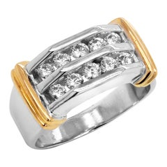 14 Karat Yellow White Gold Channel Set Diamonds Men's Ring