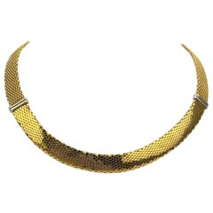 14 Karat Yellow White Gold Ladies Fancy Collar Necklace