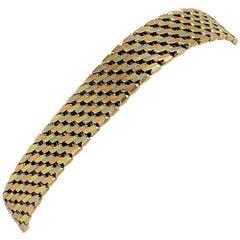 14 Karat Yellow White Rose Gold Tri Tone Heavy Fancy Link Bracelet