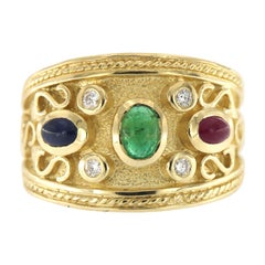 14 Kt Gold Byzantine Style Ruby, Sapphire, Emerald and Diamond Ring