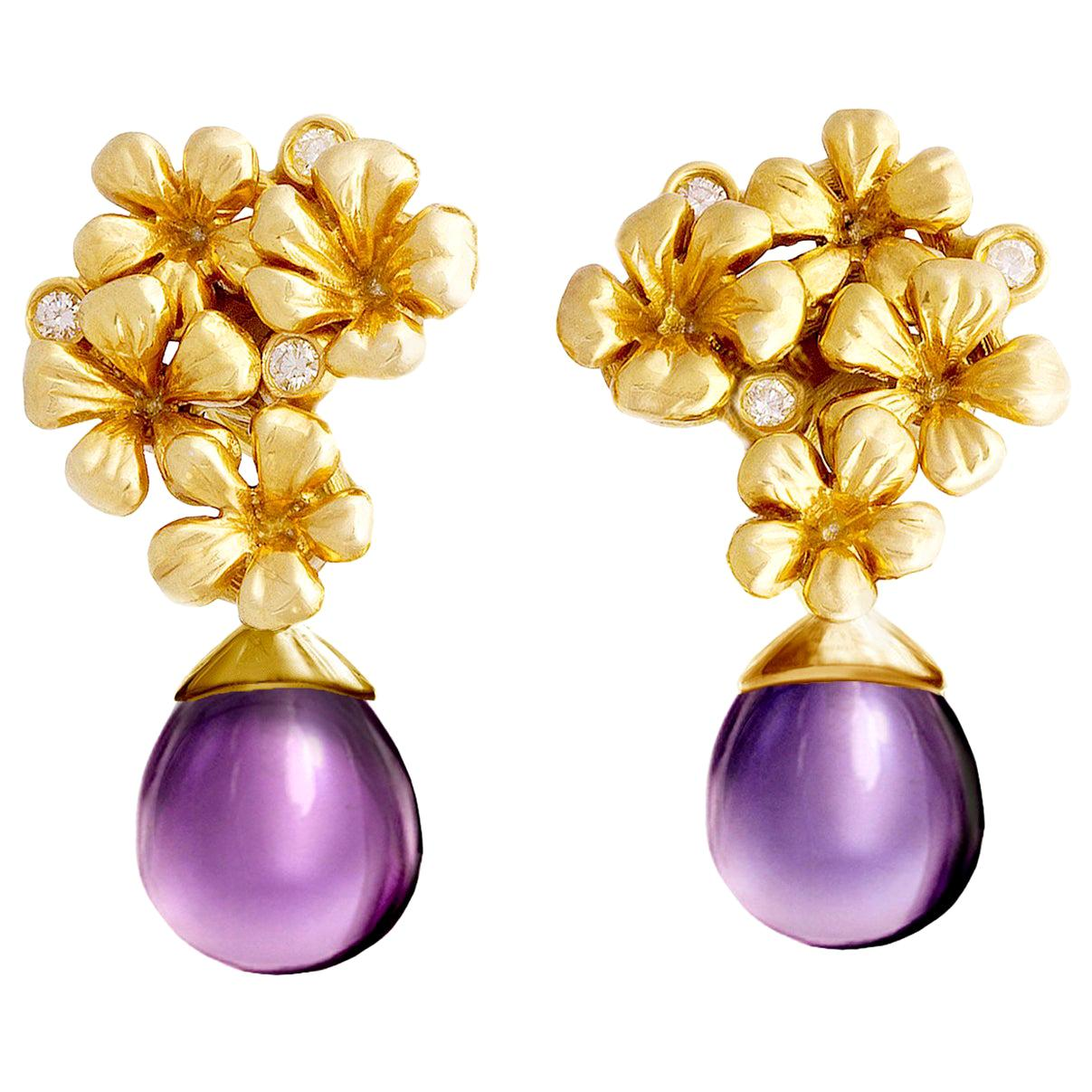 14 Kt Gold Plum Flowers Contemporary Clip-On Earrings with 6 Round Diamonds