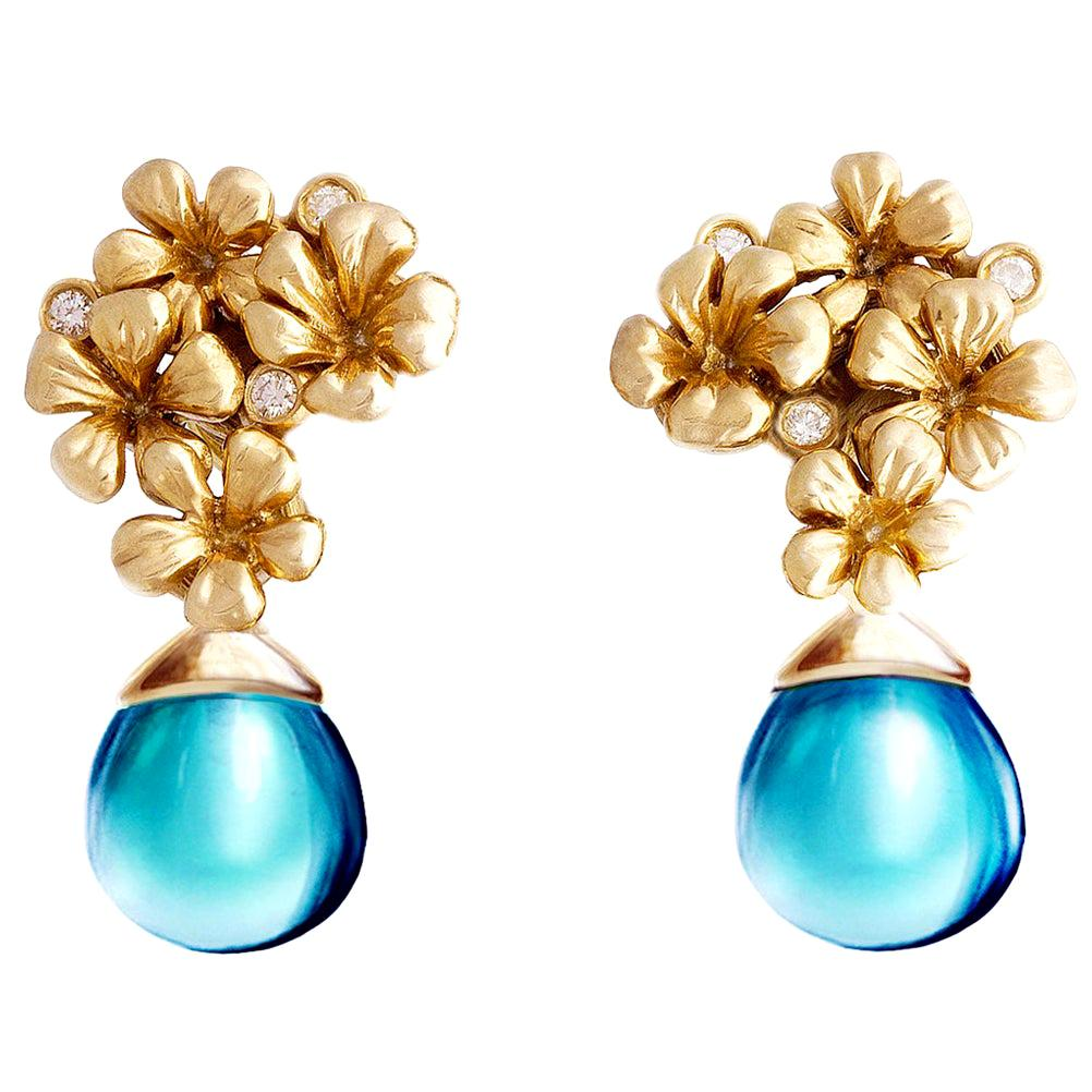 14 Kt Gold Plum Flowers Contemporary Earrings with Diamonds and Topazes