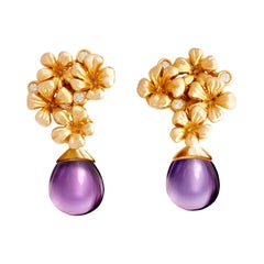 14 Kt Rose Gold Plum Flowers Contemporary Clip-On Earrings with 6 Round Diamonds