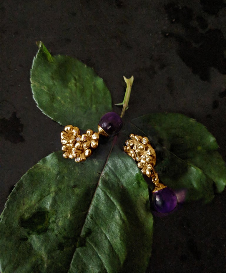 This is a piece from the contemporary jewellery collection, which was featured in Vogue UA review, and designed by the oil painter from Berlin Polya Medvedeva.  These drop earrings are made of 14 karat rose gold, and encrusted with 6 round diamonds,