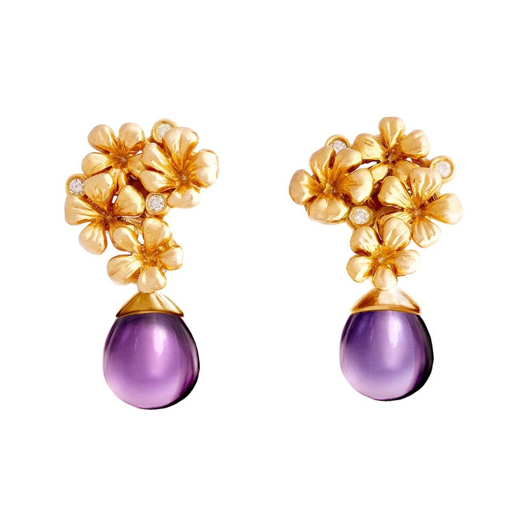 14 Kt Rose Gold Plum Flowers Contemporary Drop Earrings with 6 Round Diamonds For Sale