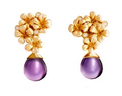 14 Kt Rose Gold Plum Flowers Contemporary Drop Earrings with 6 Round Diamonds