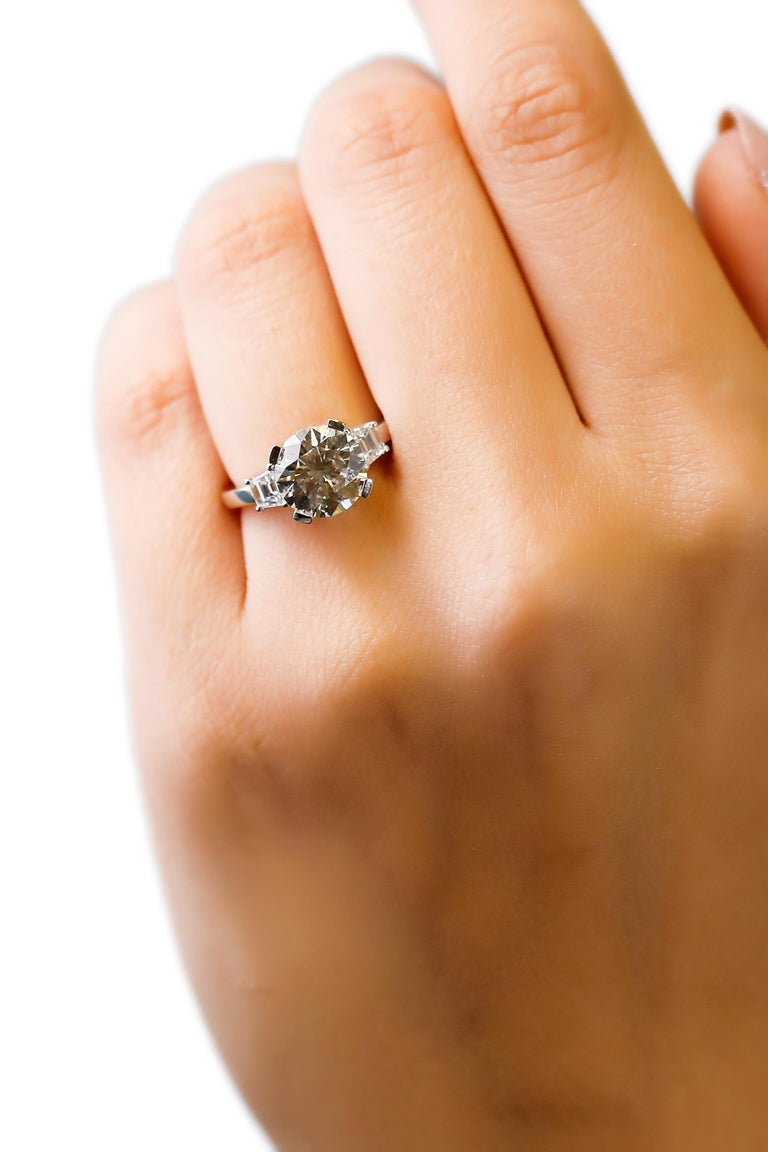 14 Karat White Gold 4 Carat Round Diamond Solitaire Engagement Ring by Natalie K In New Condition For Sale In New York, NY