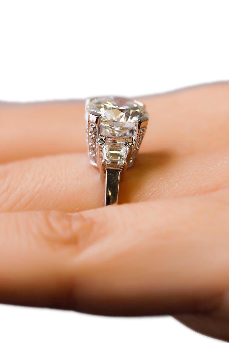 Women's 14 Karat White Gold 4 Carat Round Diamond Solitaire Engagement Ring by Natalie K For Sale
