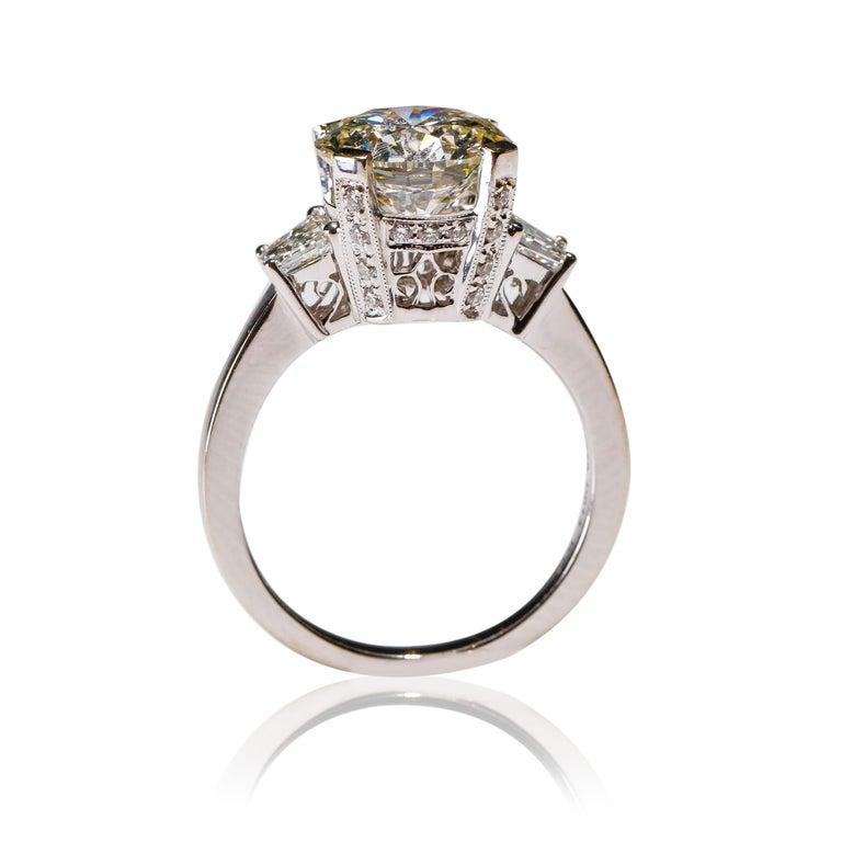 Romantic 14 Karat White Gold 4 Carat Round Diamond Solitaire Engagement Ring by Natalie K For Sale