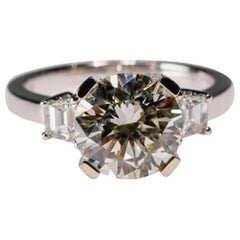 14 Karat White Gold 4 Carat Round Diamond Solitaire Engagement Ring by Natalie K