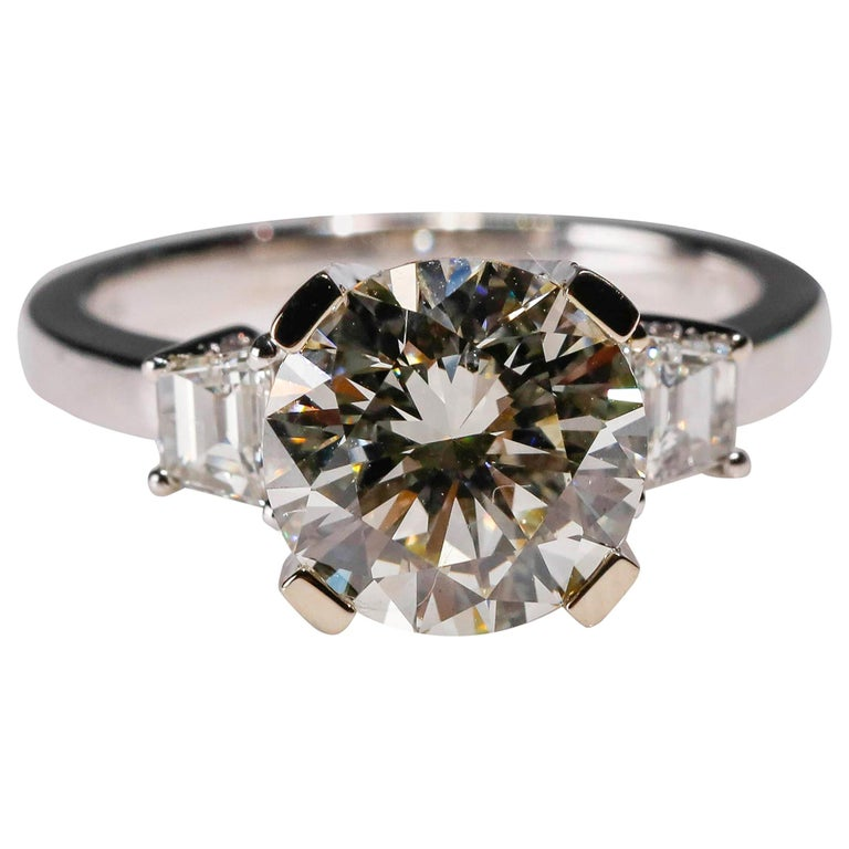 14 Karat White Gold 4 Carat Round Diamond Solitaire Engagement Ring by Natalie K For Sale