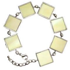 14 Karat White Gold Art Deco Style Bracelet with Lemon Quartzes
