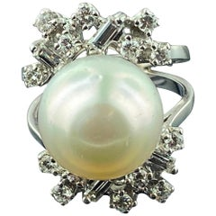 14 Karat White Gold South Sea Pearl and Diamond Ring